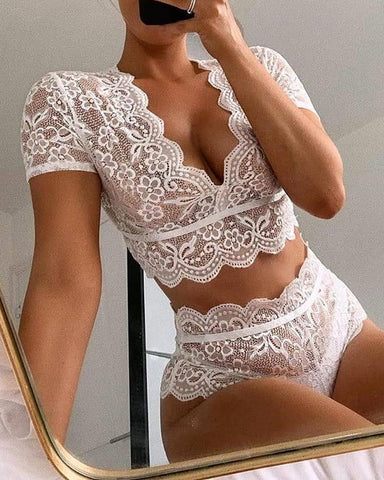 V-neck Crochet Lace Lingerie Set