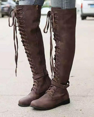 Solid Lace-Up Knee High Boots