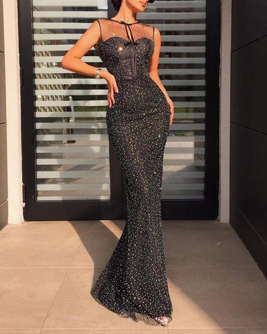 Mesh Sequined Sleeveless Maxi Dress