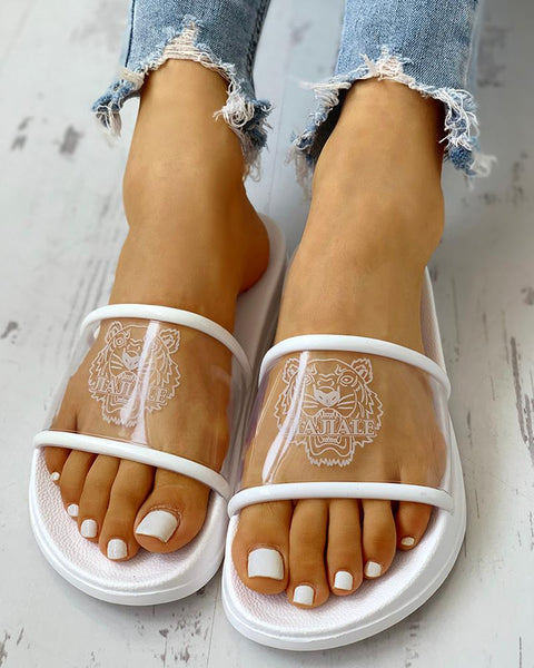 Tiger Printed Open Toe Slippers