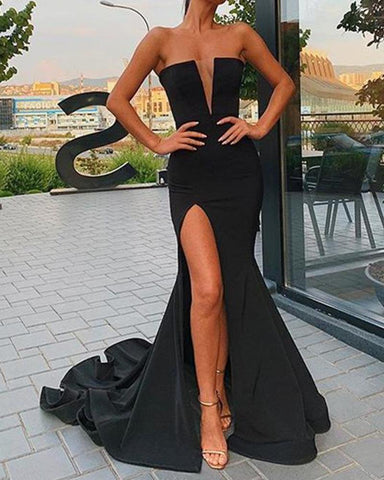 Solid Deep V Maxi Dress