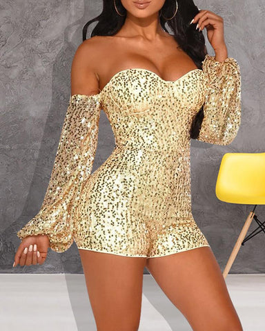 Sequins Off Shoulder Lantern Sleeve Backless Romper