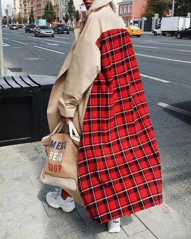 Plaid Pattern Oversized Coat