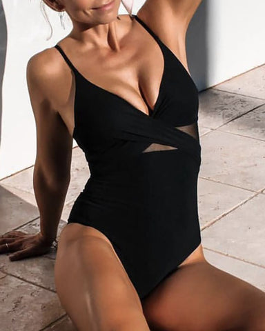 Plunge Sheer Mesh Crisscross One Piece Swimsuit