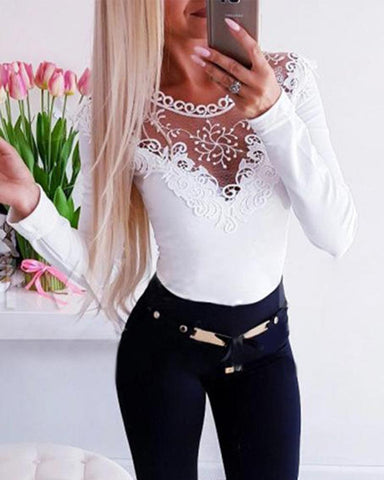 Lace Mesh Insert Long Sleeve Top