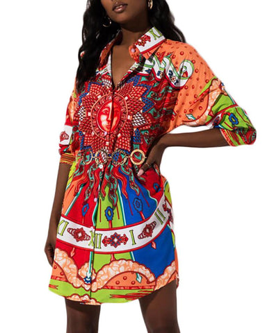 Colorful Print Long Sleeve Casual Dress