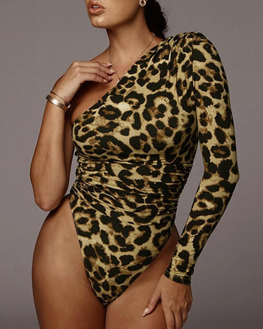Leopard One Shoulder Bodycon Bodysuit
