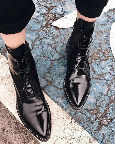 Polished Pointed Lace-Up Boots