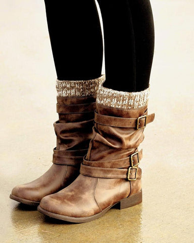 Solid Belted Insulated Ankle Boots