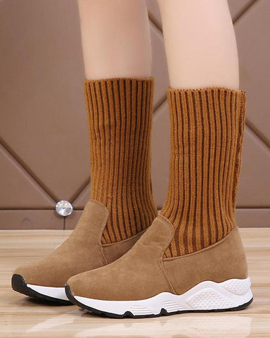 Solid Platform Knitted Sock Boots