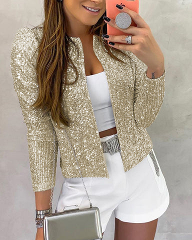 Long Sleeve Open Front Sequin Coat