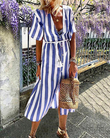 Striped Button Through Casual Dress