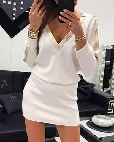 V-Neck Batwing Sleeve Contrast Bingding Casual Dress