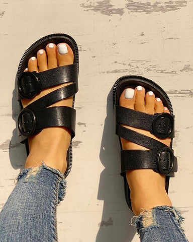 Buckle Strappy Open Toe Flat Sandals