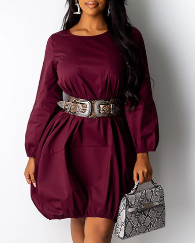 Solid Long Sleeve Pocket Detail Dress