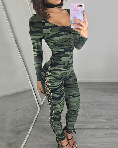 Round Neck Camouflage Print Lace-up Jumpsuit