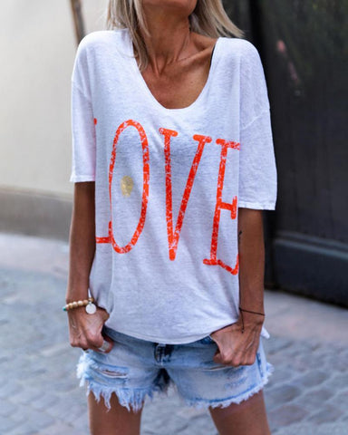 Letter Love Print Casual T-Shirt
