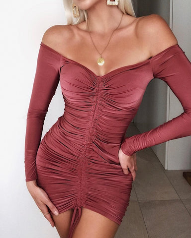 Solid Off Shoulder Long Sleeve Ruched Drawstring Bodycon Dress