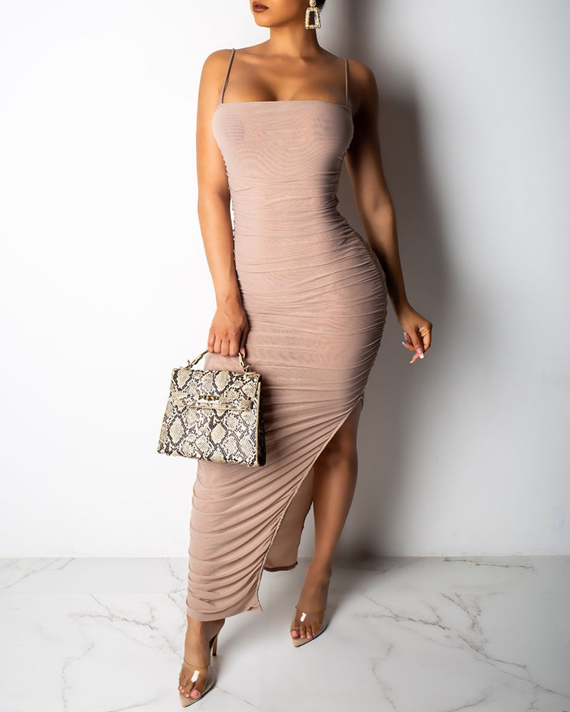 Spaghetti Strap Ruched Slit Mesh Dress