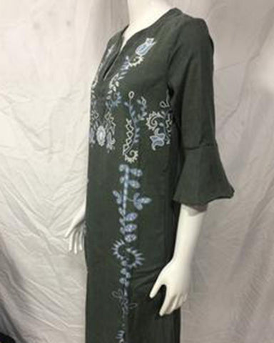 Ethnic style V-neck trumpet sleeve cotton and linen digital print dress