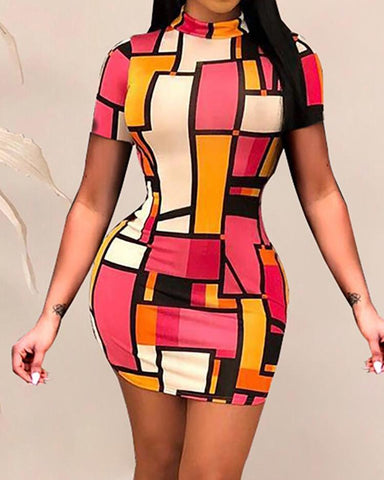 Geo Print Short Sleeve Bodycon Dress