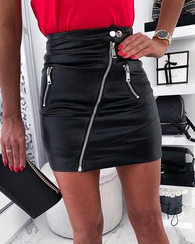 PU Zip Detail Mini Skirt