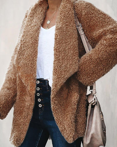 Solid Waterfall Collar Open Front Fluffy Coat