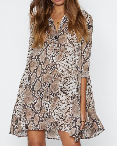 Snakeskin Print Button Up Shirt Dress