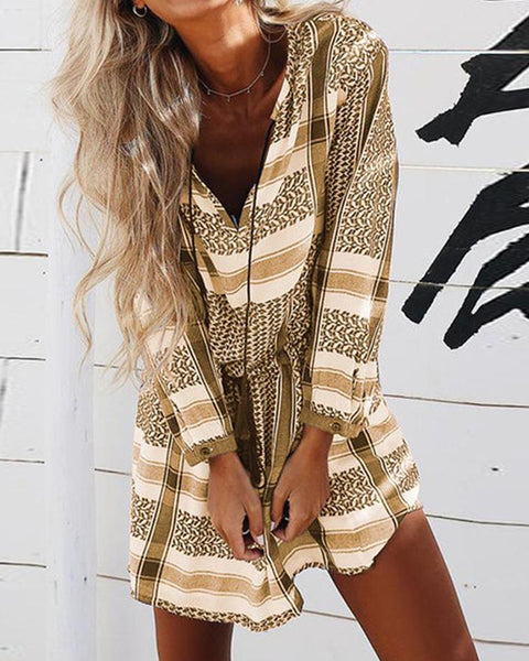 V-Neck Striped Print Long-Sleeved Mini Dress