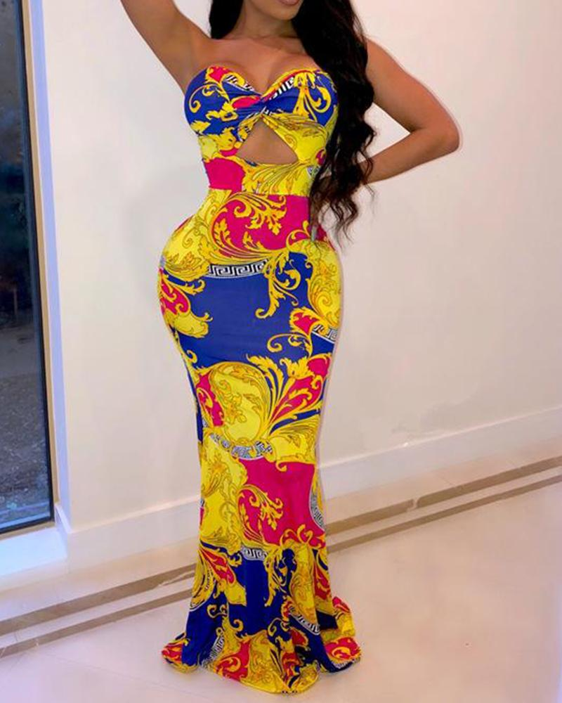 Print Hollow Out Bodycon Maxi Dress