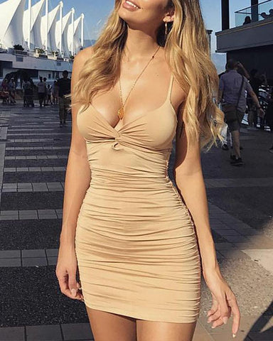 Deep V Ruched Bodycon Mini Dress