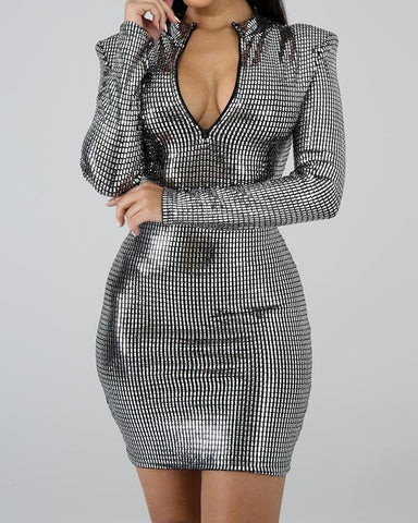 Convertible Zipper Design Glitter Bodycon Dress