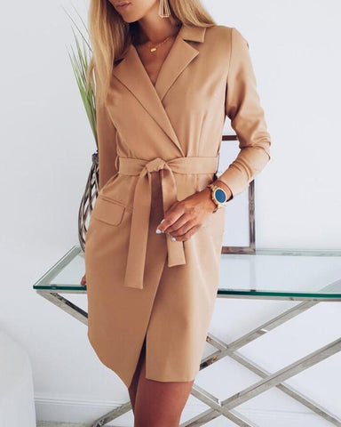 Solid Notched Collar Pocket Blazer Dress