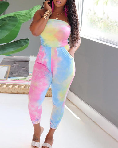 Tie Dye Print Tube Ruched Jumpsuit