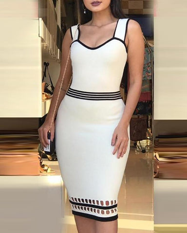 Contrast Binding Colorblock Hollow Out Bodycon Dress