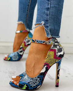 Peep Toe Colours Snakeskin Print Thin Heels