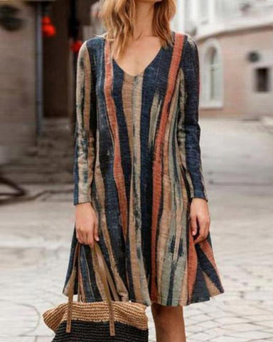 Temperament Commuter Hemp Color Striped Comfort Dress