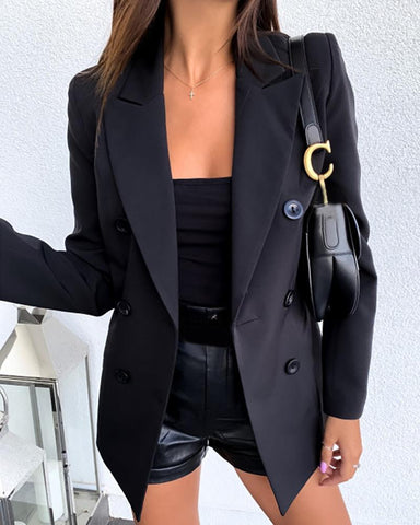 Solid Double Breasted Blazer Coat