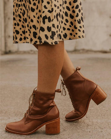 Solid Lace-Up Chunky Ankle Boots