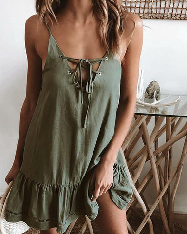 Low Cut Casual Backless Dress