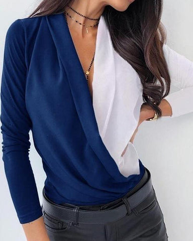 Deep V Contrast Color Top