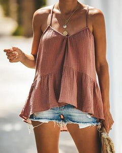 V-neck Halter Ruffled Top Women T-shirt