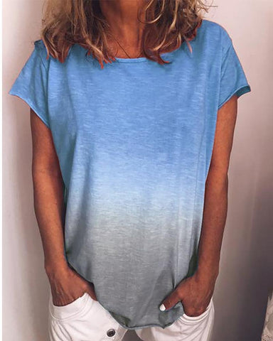 Gradient Color Short Sleeve Casual T-Shirt