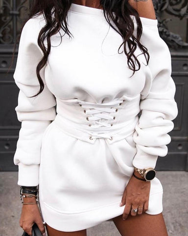 Solid Lace-Up Front Dress