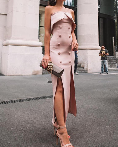 Fold Over Double-Breasted Slit Maxi Dress