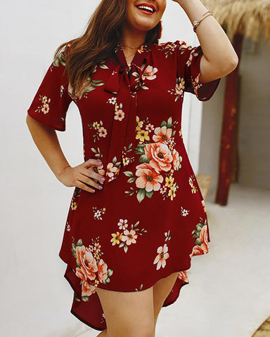 Floral Print Tied Neck Casual Dress