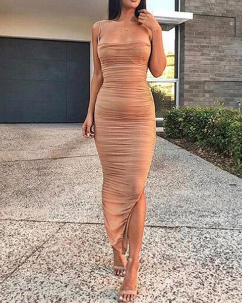Solid Color Mesh Camisole Maxi Dress
