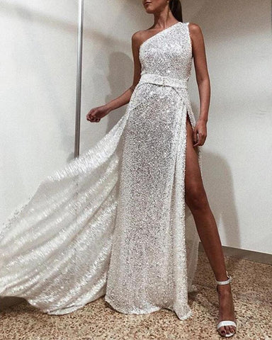One Shoulder Sequined Sleeveless Dress