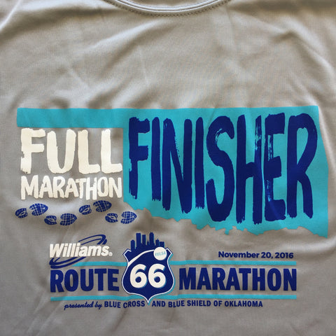 Official 2016 Williams Route 66 Marathon: Full Marathon Finisher Shirt - 2016RT66FULL