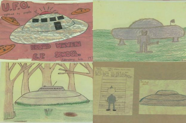 Pupil drawings taken from Broad Haven School's 1977 UFO scrapbook